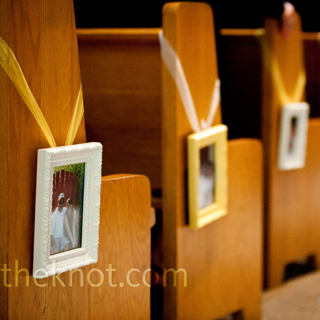 White and yellow frames with pictures of Chris and Caitlin throughout the years hung from the pews.