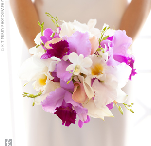 Fuchsia and White Orchid Bouquet