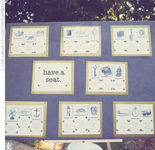 The seating chart was mounted onto a fabric-covered canvas. Each table corresponded to a graphic.