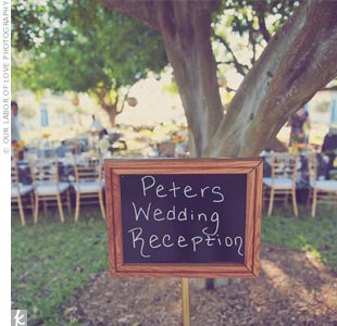 A handwritten chalkboard sign directed guests