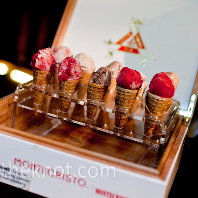 Mini sugar cones of gelato were passed around inside a cigar box later in the evening.