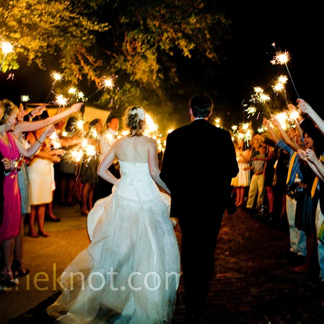 At the end of the night, guests lit sparklers and waved off the newlyweds.