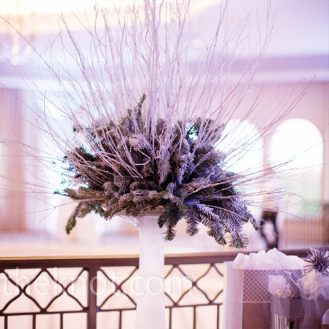 Evergreen and Birch Centerpiece