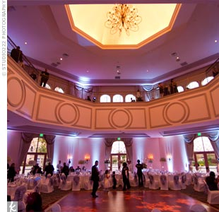 Cool-blue uplighting gave the ballroom an icy glow, while snowflake-shaped gobos lit up the dance floor.
