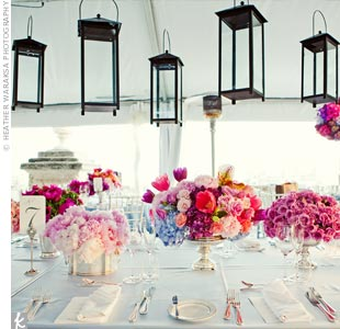 Pink and Blue Centerpieces