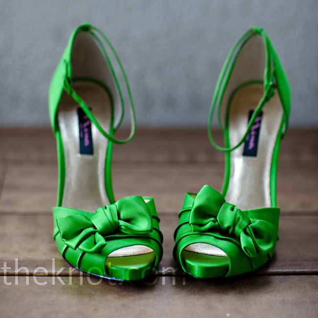 Brittany loved how her apple-green shoes peeked out from under her dress.