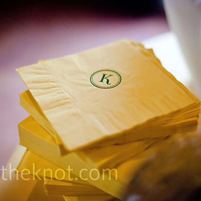 "A custom ""K"" monogram appeared on many of the details, from the cocktail napkins to the pillows in the lounge area."