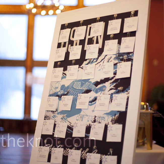 Keeping with their theme, Shanna and Jared created lift tickets for their escort cards marked with their custom snowflake logo.