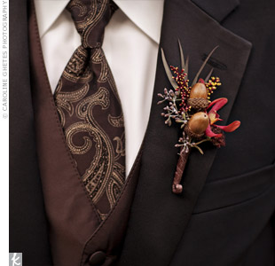 Acorn and Orchid Boutonniere