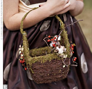 Moss-Wrapped Flower Girl Basket