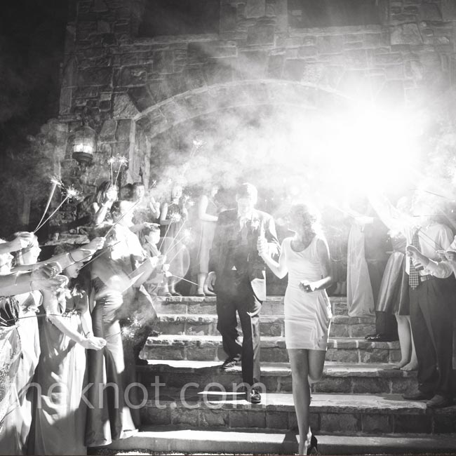 Josie and Andrew left the reception in a tunnel of sparklers.
