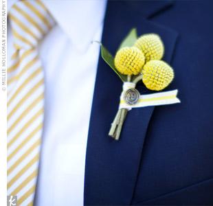 Yellow Craspedia Boutonniere