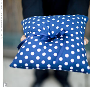 Navy and White Ring Pillow