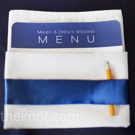 Navy and White Menu Cards