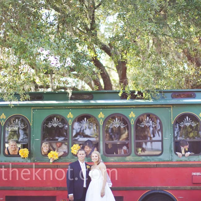 A vintage trolley brought the entire bridal party to the celebration (and provided a great photo op!).
