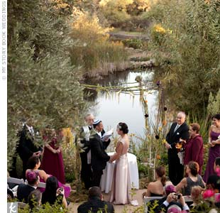 Robyn and Larry exchanged vows beneath a huppah of branches with hanging grapevines and flowers.