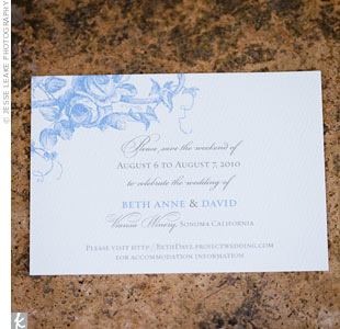 A rose and vine motif set the tone for the couples garden party wedding.