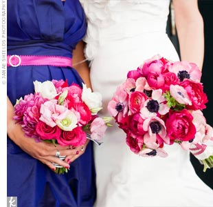 Pink anemones with navy centers fit the color palette and distinguished Erins bouquet from the others of ranunculus, garden roses, peonies and dahlias.
