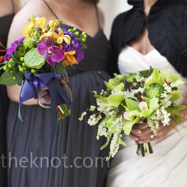 While Kristen carried a natural-colored mix of hydrangeas layered with cymbidium orchids, berries, succulents and fiddlehead ferns, her bridesmaids held celosia, orchids, spider mums and lotus pods.