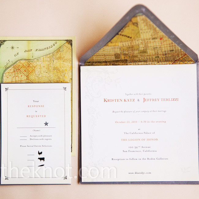 The couple worked with Jeff's sister on the paper: postcards of a vintage map of San Francisco and invites with gray envelopes and matching map liners.