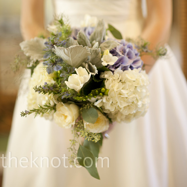 Courtney carried a lush bouquet of hydrangeas, silver leaf and lamb's ears accented with herbs like mint, sage and thyme.