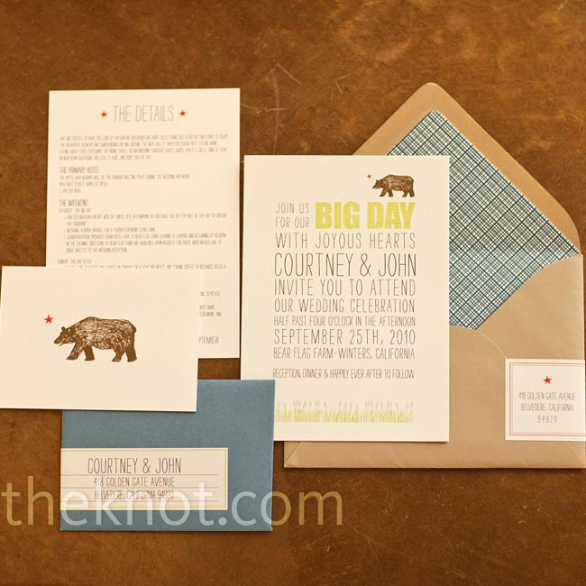 Courtney worked with Hello!Lucky to create a bear motif for everything from the save-the-dates to the thank-you cards.