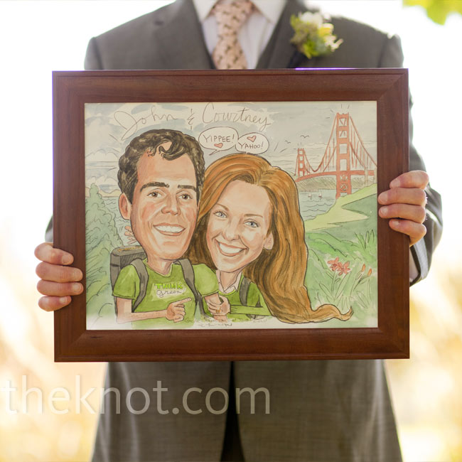 A friend of the couple made this caricature of them standing in Marin County (where they live) with the Golden Gate Bridge in the background. It decorated the guest book table.