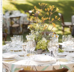 Eclectic arrangements of branches, kangaroo paws and herbs mirrored the weddings farm setting.