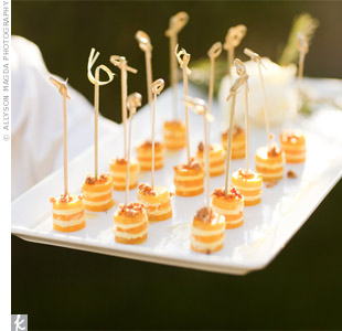 "The couple worked with a local caterer to plan a menu of fresh, in-season foods. ""The entire event was vegetarian,"" says Courtney, ""save for one appetizer, which just tasted better with shrimp."""