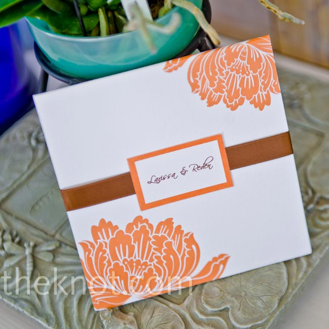 The couple printed their own pocketed invitations.