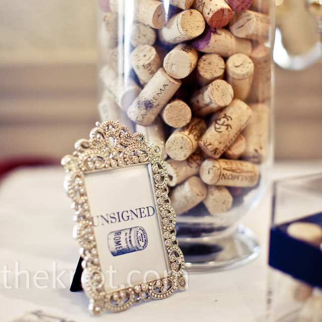 In addition to signing a traditional guest book, guests were asked to write their names on wine corks.