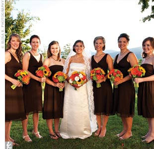 Rachel's bridesmaids found their brown, silk chiffon dresses at the same J. Crew outlet where she found her bridal gown.