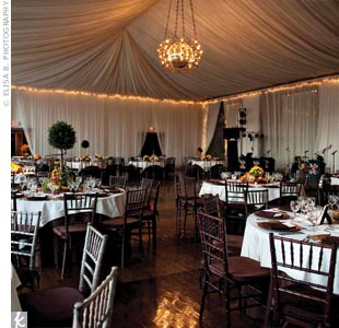Sparkling twinkle lights added an elegant touch to the frame of the fabric-draped ballroom.