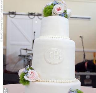 Iced Pearl Monogram Cake