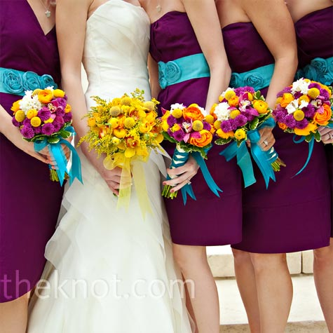 Purple and Yellow Bouquets