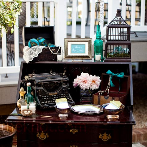 Antique Guest Book Table