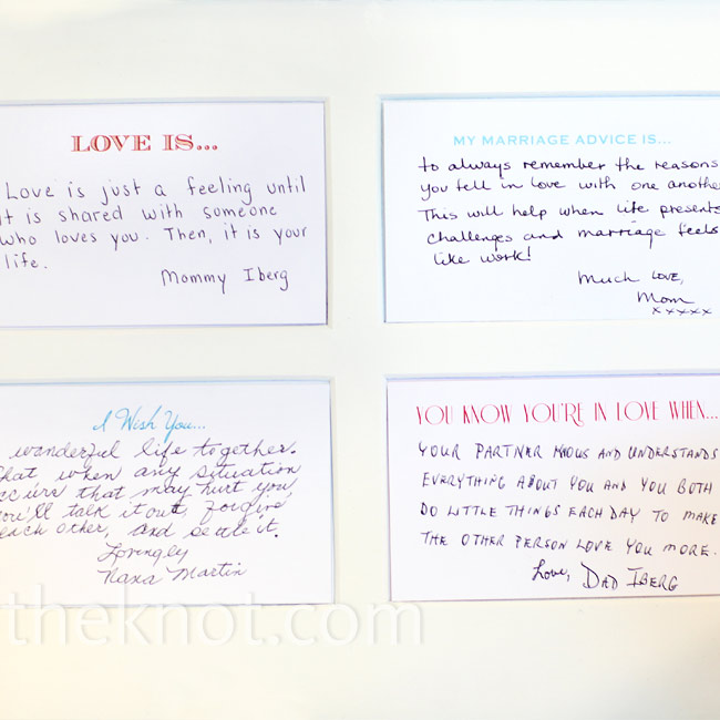 A friend designed cards with sweet, love-inspired phrases on top to be used in lieu of a guest book. A few of the cards were framed in advance to show everyone what to do.