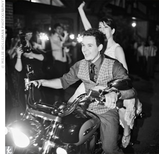 Retro Motorcycle Wedding Exit