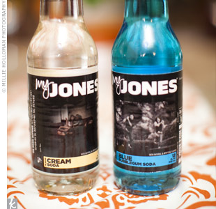 Colorful bottles of Jones Soda were arranged around each guest's place settings, doubling as decor.