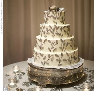 Silver Fondant Leaf Cake