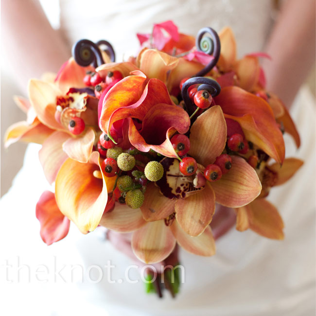 Teresa held calla lilies, orchids and roses accented with fiddlehead ferns.