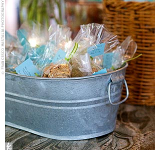 The favors were handmade oatmeal cookies (a family recipe) packaged in clear bags tied with green ribbon.