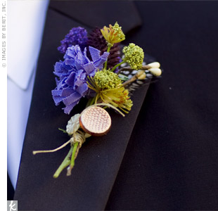 Ben sported a boutonniere made of purple and green feathers, fabric and twine.
