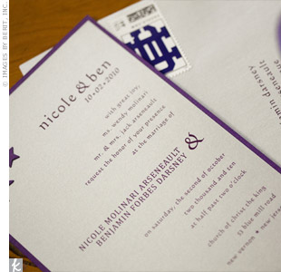 As a nod to their alma mater (also where they met), the couple used College of the Holy Cross stamps for their silver and purple invitations.