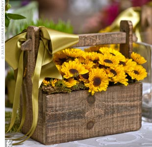 Sunflower Flower Girl Basket