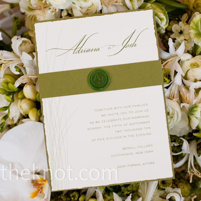 "Simple, organic moss-green and off-white invitations set the tone for the day, while an ""A&J"" wax seal added a formal touch."