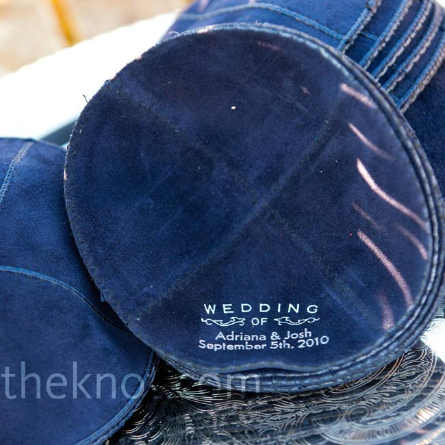 The couple had blue yarmulkes custom made for the groomsmen to wear during the ceremony.