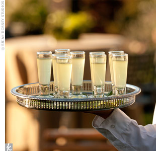 The catering staff passed around shots of Limoncello as guests walked from the ceremony to cocktail hour on the lawn.