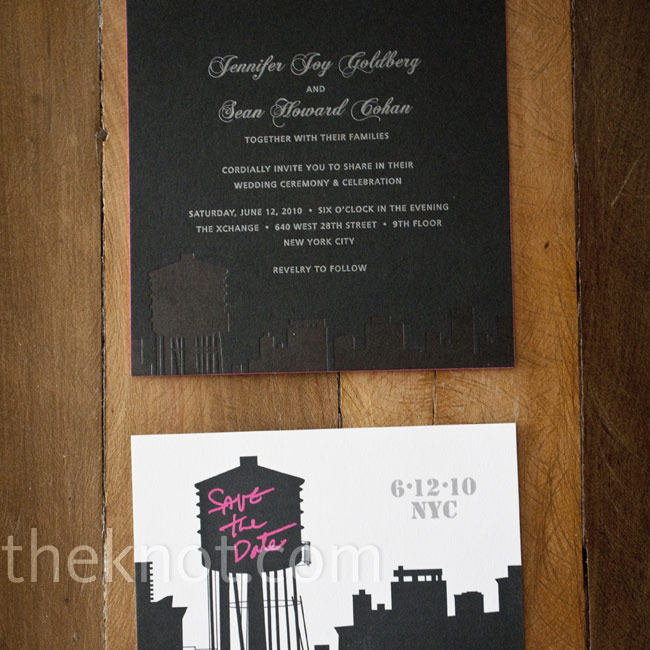Black-and-white save-the-dates with a pink graffiti-style font felt oh-so-NYC.