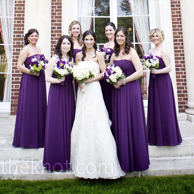 Deep Purple Wedding Dresses : The bridesmaids wore strapless floor length deep purple dresses